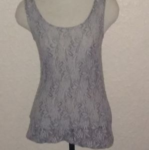 Romy Sheer Grey Lace Small Flattering Top w/detail